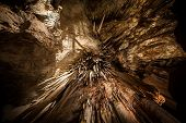 Looking directly up at Stalactite in cave