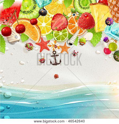 Постер, плакат: Летние каникулы векторные иллюстрации с пальмы солнце море фрукты и ягоды Кокос шоколадный, холст на подрамнике