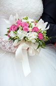 Wedding Bouquet Of Roses With Ribbons