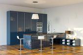 Luxury Hi-Tech Dark Blue Kitchen (Perspective View)