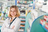 Young Pharmcist In Drugstore