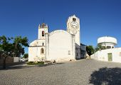 Panoramic view of Tavira (church of SANTA MARIA DO CASTELO), a historic city in Algarve, Portugal, E