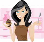 picture of sweetie  - Illustration of pretty woman with sweetie cupcake - JPG
