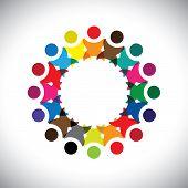 Conceito vetor gráfico - Resumo colorido empregado unidade Icons(signs)