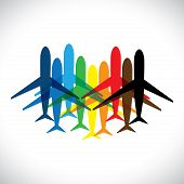 Concept Vector Graphic- Abstract Colorful Airplane Icons(symbols)