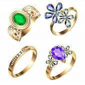 Ring Set With Precious Stones On White