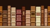 Horizontal seamless background with old books. Vector illustration.