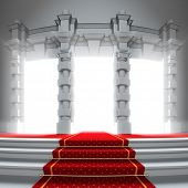 Red carpet way to the light portal. A 3d illustration of classical entrance to the future with red c