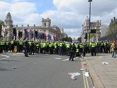 Police Hold The Line Against Anti Fascists During During A Bnp Protest In Londons Westminster 1St Ju