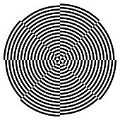 picture of optical  - Black on white circle descending spiral design background optical illusion pattern - JPG