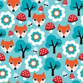Nahtlose Kinder Natur Fuchs Illustration und Herbst Elemente Hintergrund Muster in Vektor