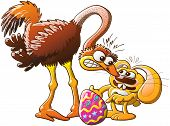 Easter bunny facing an upset ostrich after having stolen her huge egg