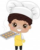 Illustration of a Cute Little Boy Baking Bread