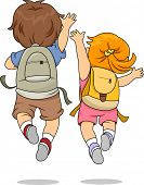 image of jumping  - Back View Illustration of Little Male and Female Kids wearing Backpacks Jumping Merrily - JPG