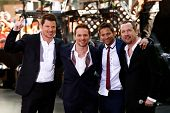 NEW YORK-MAY 31: (L to R) Nick Lachey, Drew Lachey, Jeff Timmons and Justin Jeffre of 98 Degrees perform on NBC's 'Today' in Rockefeller Center on May 31, 2013 in New York City.
