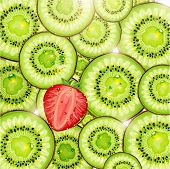 Kiwi and strawberry background with sun shine and water drops for fresh summer design. Vector illustration.