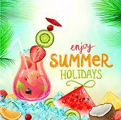 Vacaciones de verano vector ilustración con cócteles, palmeras, sol, cielo, mar, frutas y bayas. Co