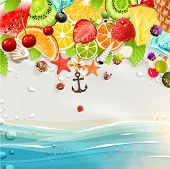 Summer holidays vector illustration set with palms, sun, sea, fruits and berries. Coconut, strawberry, pineapple, watermelon, cherry, orange and lemon, sea and beach sand for best summer design.