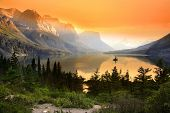 image of tranquil  - Wild goose island in Glacier national park - JPG