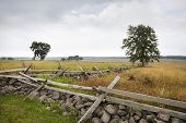 stock photo of battlefield  - Looking southwest at The Angle on the Gettysburg battlefield - JPG