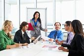 stock photo of conduction  - Businesswoman Conducting Meeting In Boardroom - JPG