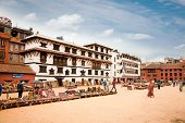 KATHMANDU, NEPAL-MAY 18: Crowd of local Nepalese people visit the famous Durbar square on May 18, 20