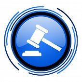 ícone brilhante de lei círculo azul