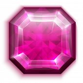 Asscher cut red diamond icon - raster version