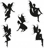 stock photo of faerie  - Collection of 5 black vector Fairy silhouettes - JPG