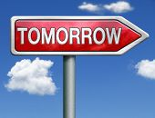 tomorrow what will the future bring a new beginning icon button next day red road sign arrow with te