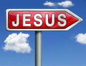 Jesus leading way to the lord faith in savior worship christ spirit search belief in prayer christian christianity red road sign arrow with text and word concept