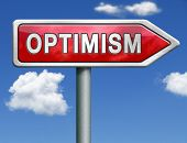 optimism positive thinking a positivity attitude leads to a happy life and mental health optimist optimistic red road sign arrow with text and word concept