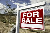 For Sale Real Estate Sign And Emtpy Construction Lots