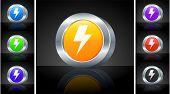 Lightening Icon on 3D Button with Metallic Rim Original Illustration