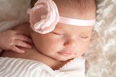 Portrait Of A Beautiful Newborn Baby Girl