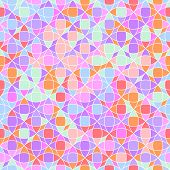 Abstract geometric mosaic in bright colors seamless pattern, vector