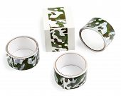 Packing Tape With Print. Masking Tape For Gift Wrapping. Camouflage Print On The Packaging Adhesive