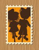 Thanksgiving greeting card - Scarecrows