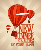 New summer collections design template with balloons carrying shopping bags