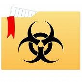 File folder with bio hazard sign