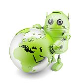 Robot Holding Holding Earth Planet