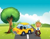 stock photo of kinetic  - Illustration of a car bumping the tree at the road - JPG