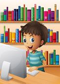 Illustration of a boy using the computer inside the library