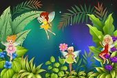 stock photo of fairy  - Illustration of a garden with four fairies - JPG