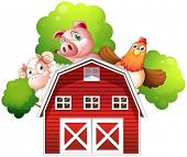 Illustration of a sheep, a pig and a chicken hiding at the back of a barn on a white background