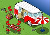 Isometric Camping Van In Front View
