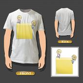 Yellow Post-it Printed On White Shirt. Vector Illustration.