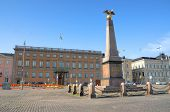 The Stone of the Empress on Market Square in Helsinki, Finland