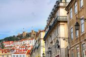 Buildings in Baixa district, Lisbon, Portugal