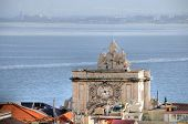 Aerial view on the Rua Augusta Arch and coast in Lisbon, Portugal